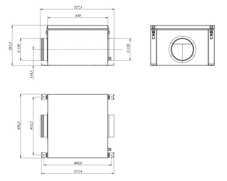 Габаритные размеры Вытяжного блока WB 700