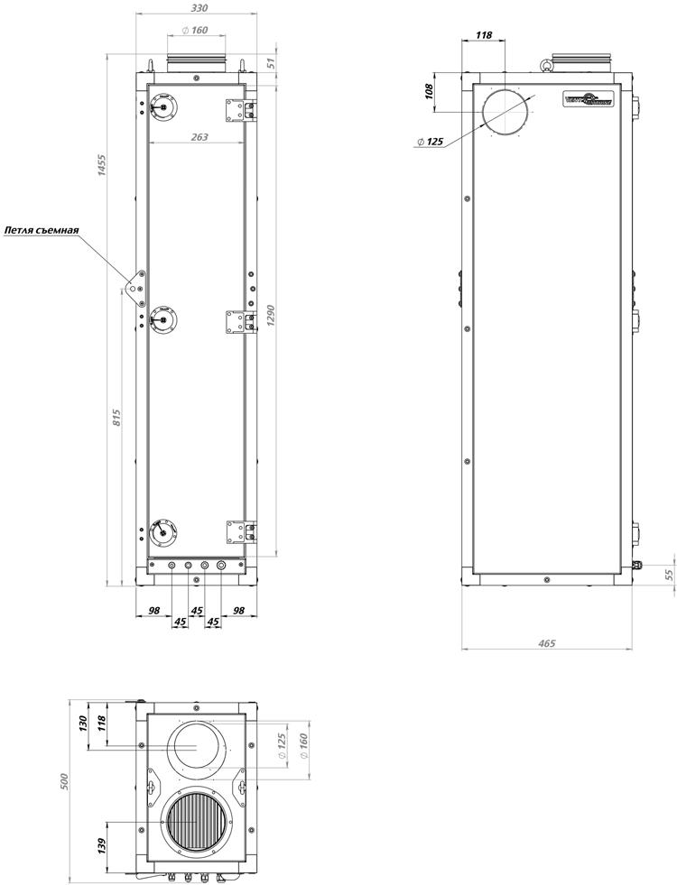 ПВУ-600. Габаритные размеры